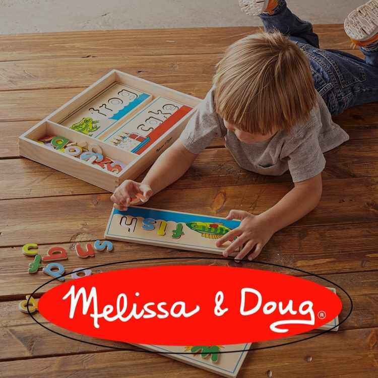 Melissa and Doug logo with kid playing with puzzles