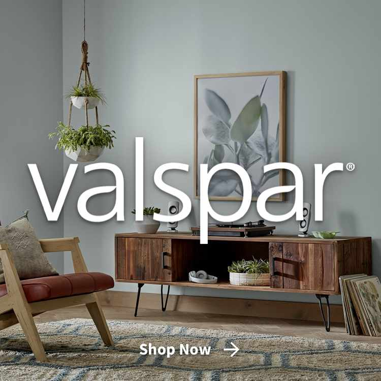 Valspar painted room with shop now link and Valspar logo