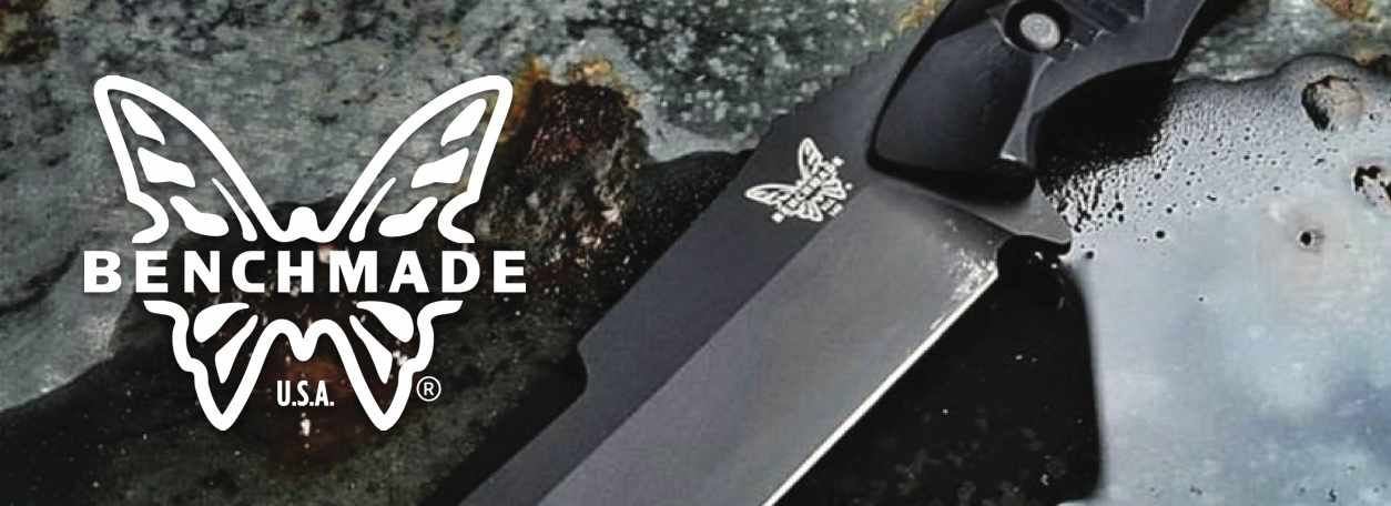 Benchmade Knives logo with Benchmade knife closeup