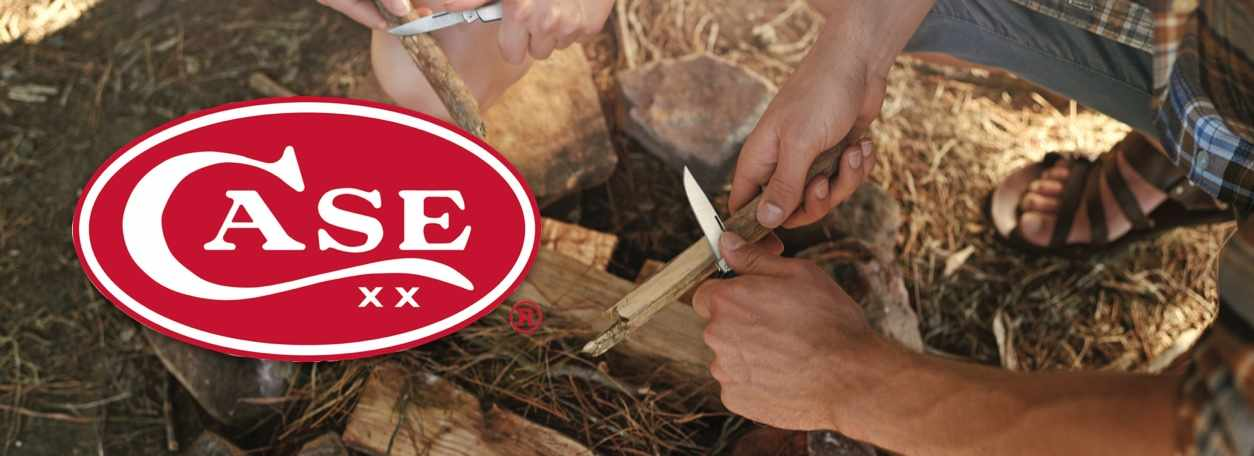Case Knives logo with person cutting stick with Case knife