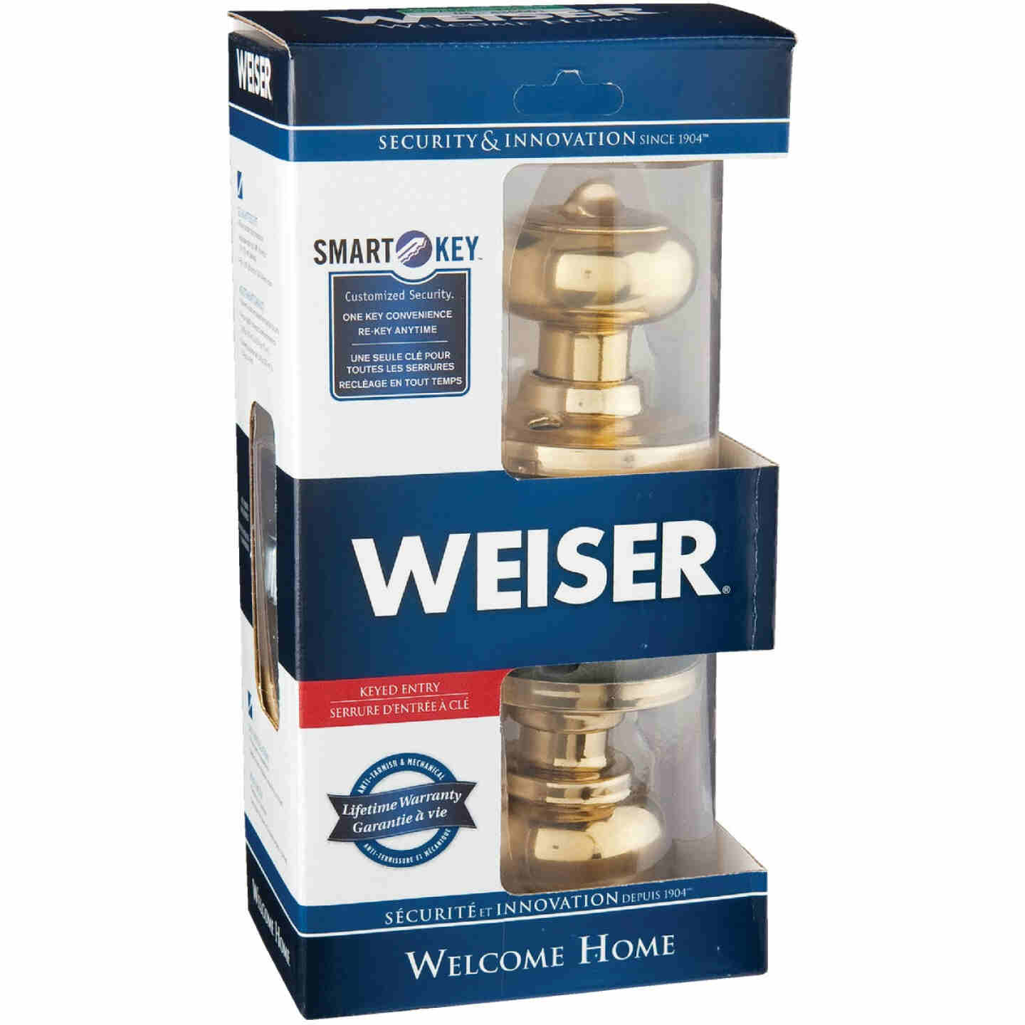 Weiser Welcome Home Polished Brass Entry Door Knob with SmartKey Image 2