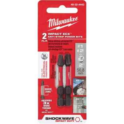 Milwaukee Shockwave #1 and #2 ECX 2 In. Power Impact Screwdriver Bit (2-Pack)