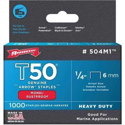 Arrow T50 Heavy-Duty Monel Staple, 1/4 In. (1000-Pack)