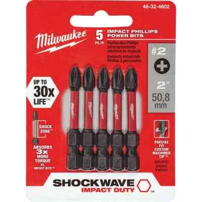 Milwaukee Shockwave #2 Phillips 2 In. Power Impact Screwdriver Bit (5-Pack)