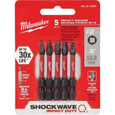 Milwaukee Shockwave #2 Square Recess 2 In. Power Impact Screwdriver Bit