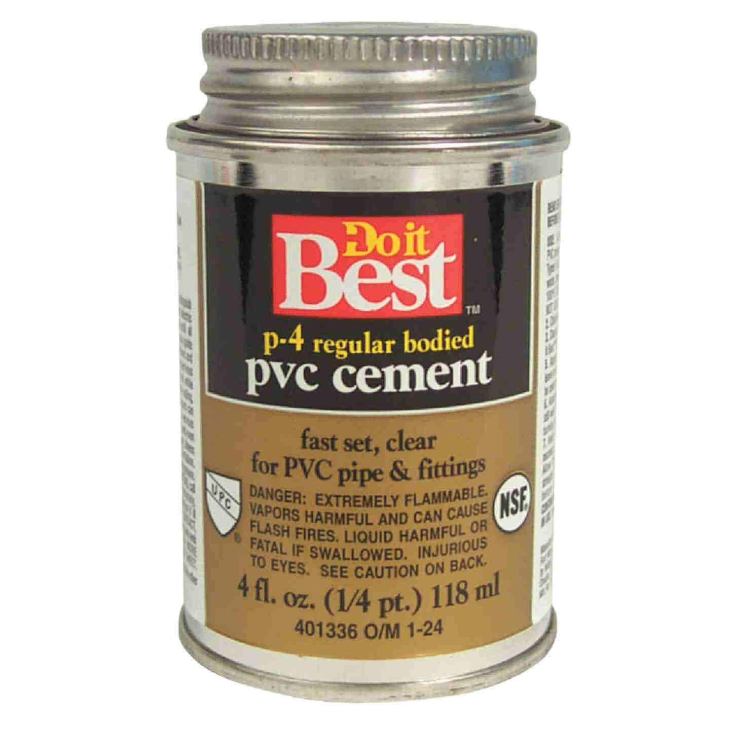 Do it Best 4 Oz. Regular Bodied Clear PVC Cement Image 1