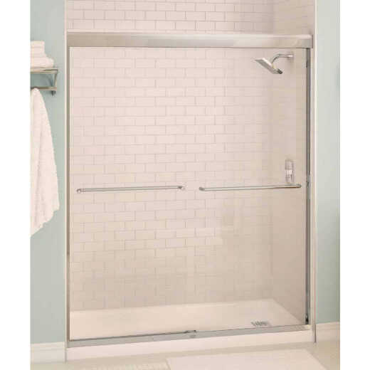 Maax Aura 59.5 In. W. X 71 In. H. Brushed Nickel Frameless Clear Glass Sliding Shower Door