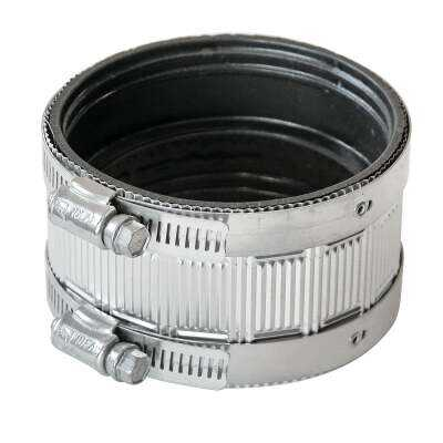 Black Swan 4 In. Neoprene No-Hub Coupling with Stainless Steel Clamps