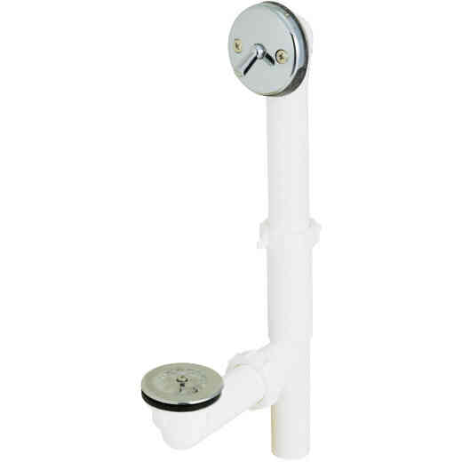 Do it White Plastic Trip Lever Bath Drain with Polished Chrome Trim and Strainer & Dome Grid