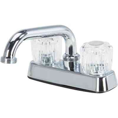 Home Impressions Chrome 4 In. Installation Solid Brass, Acrylic Handle Laundry Faucet