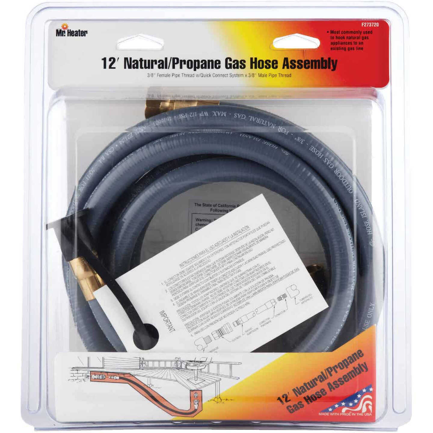 MR. HEATER 12 Ft. 3/8 In. Thermoplastic Natural/Propane Gas Patio Hose Assembly Image 2