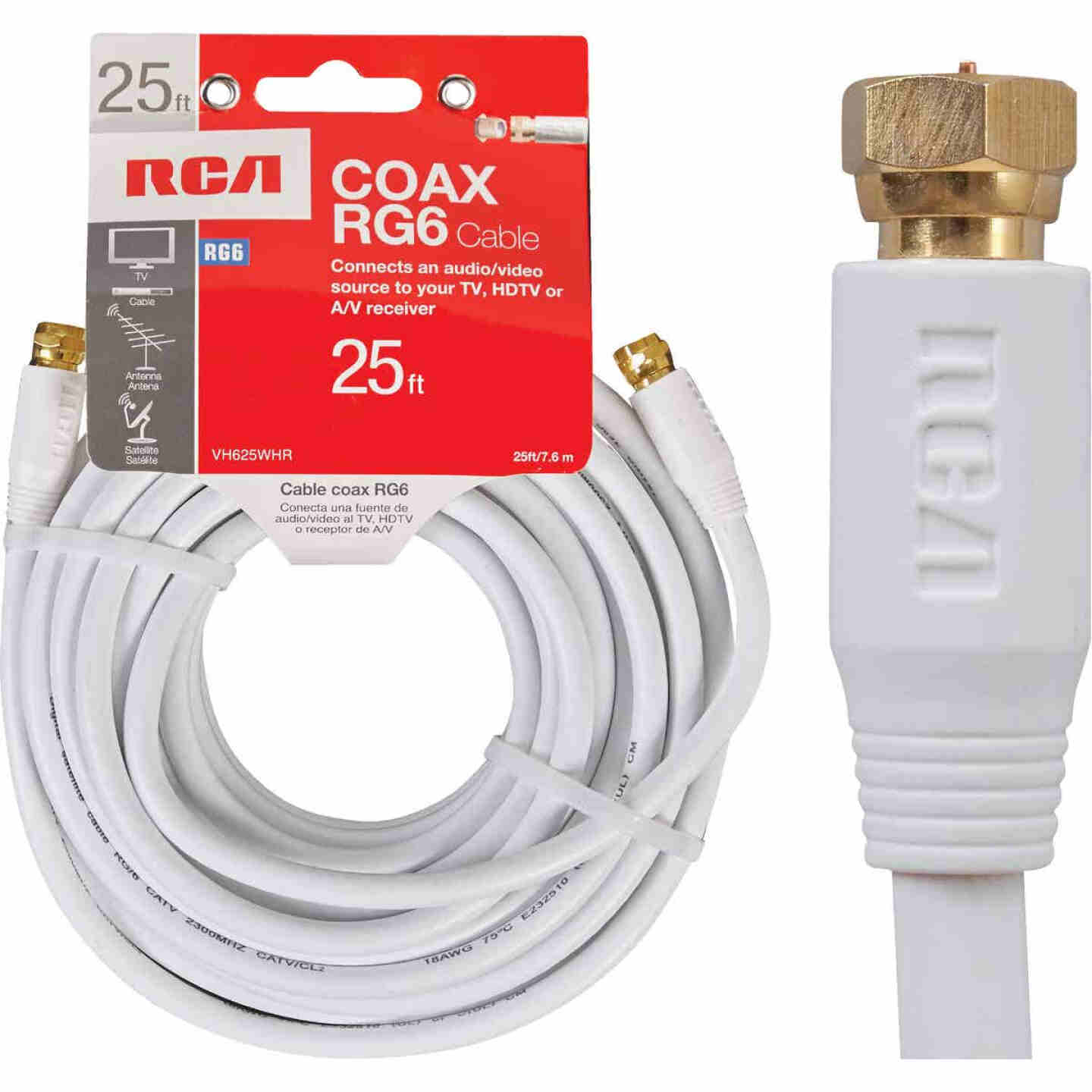 RCA 25 Ft. White RG6 Coaxial Cable Image 1