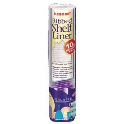 Plast-O-Mat 12 In. x 10 Ft. White Ribbed Non-Adhesive Shelf Liner