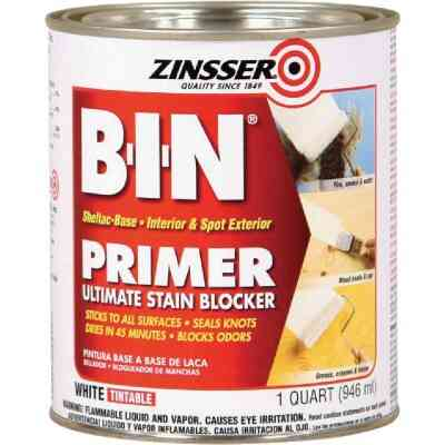 Zinsser B-I-N Shellac-Based Ultimate Stain Blocker Interior & Spot Exterior Primer, White, 1 Qt.