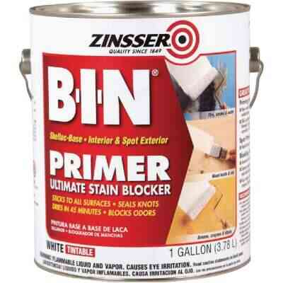 Zinsser B-I-N Shellac-Based Ultimate Stain Blocker Interior & Spot Exterior Primer, White, 1 Gal.