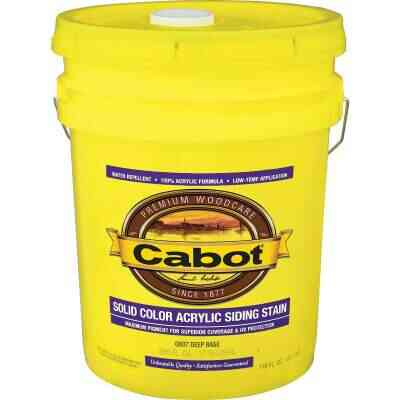 Cabot Solid Color Acrylic Siding Exterior Stain, Deep Base, 5 Gal.