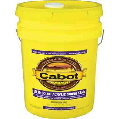 Cabot Solid Color Acrylic Siding Exterior Stain, Medium Base, 5 Gal.