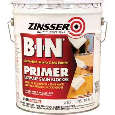 Zinsser B-I-N Shellac-Based Ultimate Stain Blocker Interior & Spot Exterior Primer, White, 5 Gal.