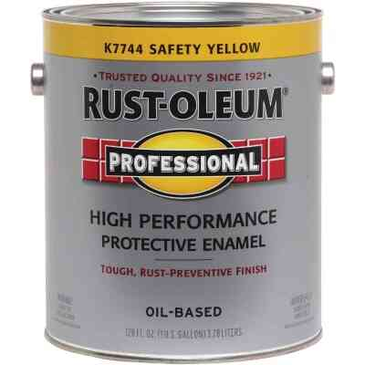 Rust-Oleum Professional Oil-Based Gloss VOC Formula Rust Control Enamel, Safety Yellow, 1 Gal.