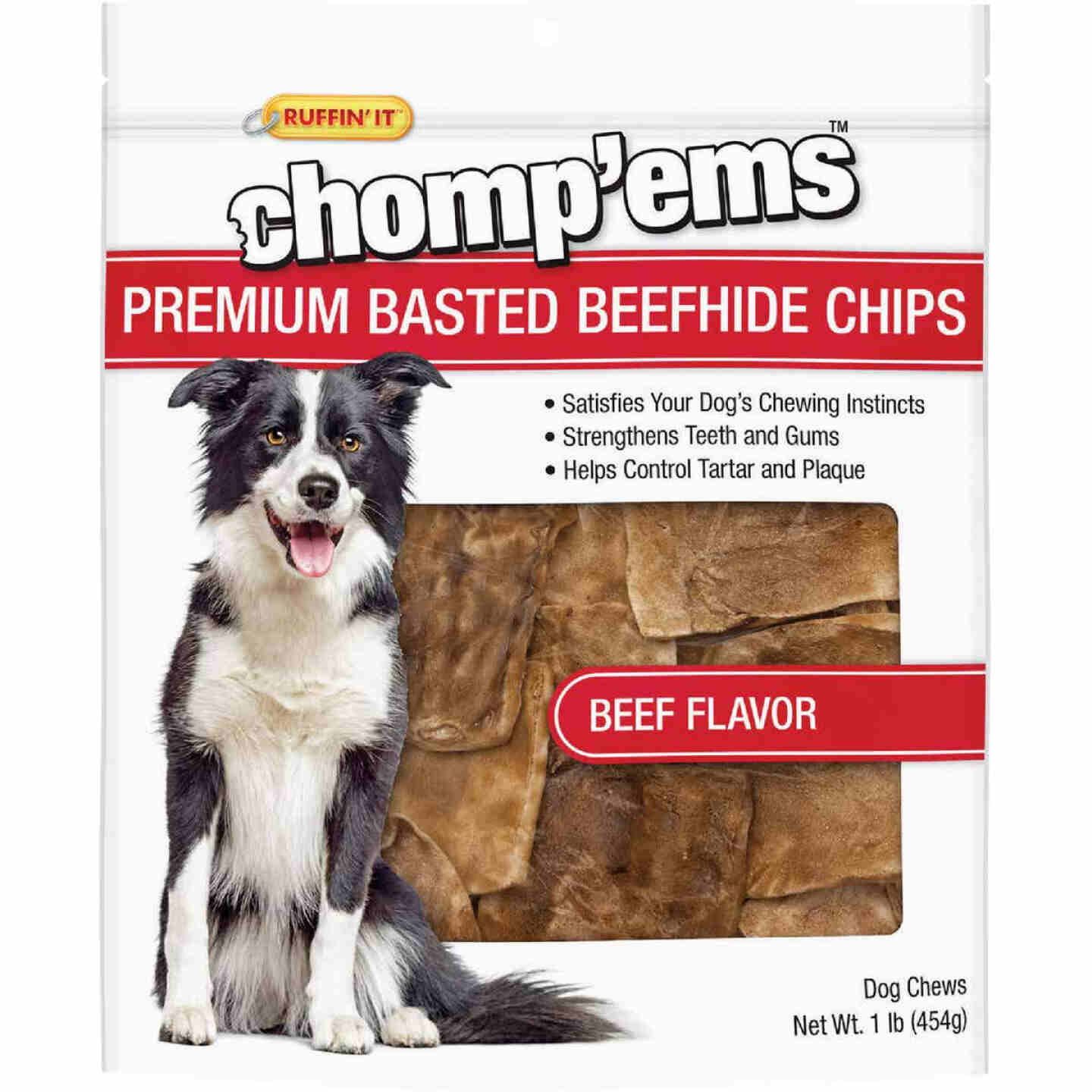 Westminster Pet Ruffin' it Chomp'ems Beef 1 Lb. Rawhide Chips Image 1