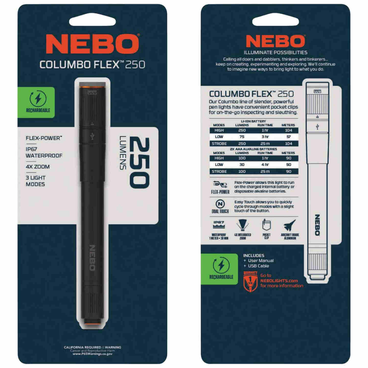 Nebo Columbo Flex LED Anodized Aluminum LED Rechargeable Penlight Image 2