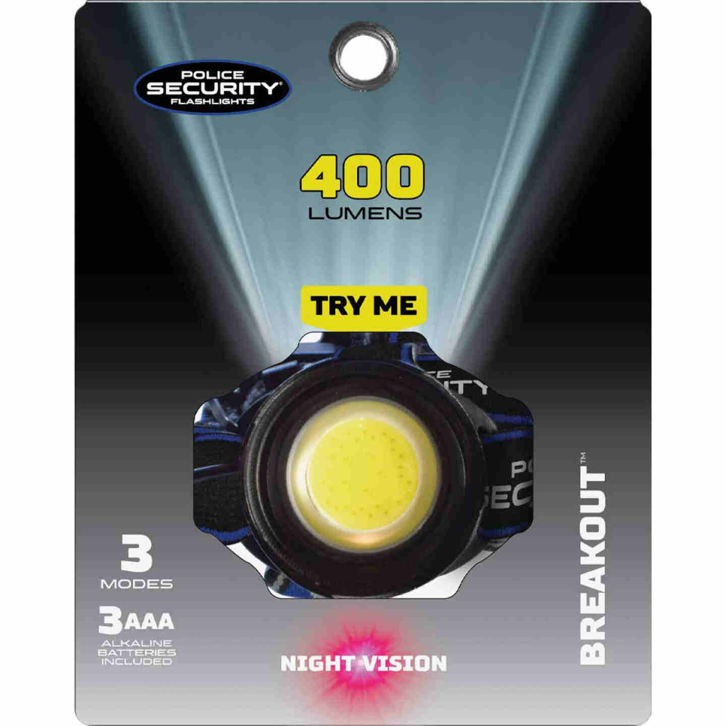 Police Security Breakout 400 Lm. 3 AAA COB LED Headlamp Image 2
