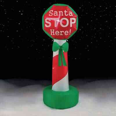 Brite Star 4 Ft. Santa Stop Here Sign Airblown Inflatable